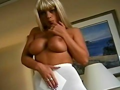 Busty blonde in girdle and pantyhose
