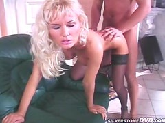 Dazzling Blonde in Sexy Stockings Fucked in Her Cunt and Ass
