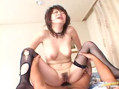 Sexy Japanese girl In Fishnets Rides a dick and gets facialed