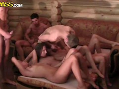 Naked girls party after exams in the sauna