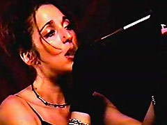 Chick in black opera gloves is a smoker