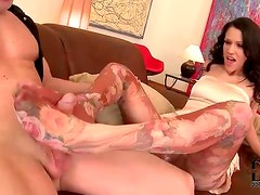 Footjob from beauty in dress and pantyhose