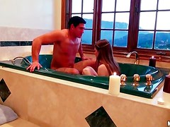 Couple takes a romantic bath together