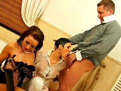 Girls dress up for a sexy threesome