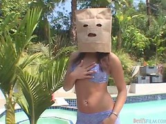 Busty babe Serena South gets fucked with a bag on her head