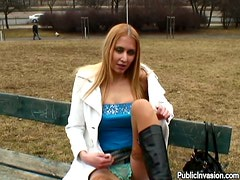 Cute Blonde Euro Babe Sucks On Sausage Meat In The Park