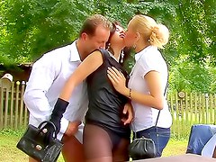 Outdoor hardcore sex with two babes