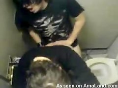 Public Restroom Sex With Teen Couple In Voyeur Video