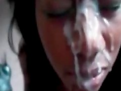 Horny ebony slut gets a huge cum facial here
