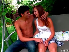 Patio Sex With The Sexy Sara And Her Boyfriend