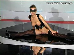 Stockings girl is flexible and sexy solo
