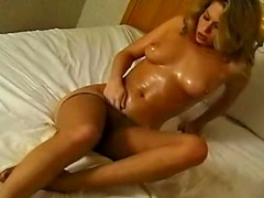 Baby oil for body of beauty in pantyhose
