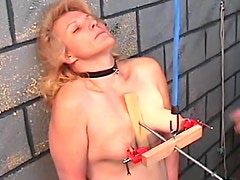 Major tit pain for chubby mature sub