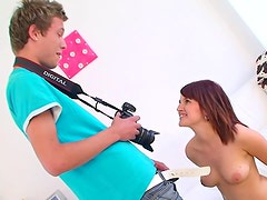 Cumshot across the tits of teen lover