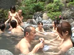 Hot Japanese milf enjoying wild orgy and loving it