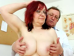 Hairy mature redhead gets gyno exam