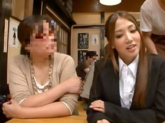 Nanako Hoshizaki gets her snatch drilled from behind in the restaurant
