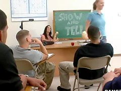 Show and Tell class teacher seduces one of her students and makes him fuck her