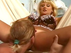 Big breasted blonde cunt and ass fucked