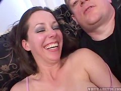 A Hot Creampie For A Brunette's Hairy Pussy