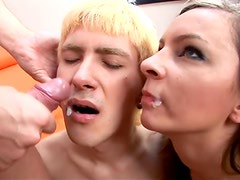 two bisexual guys and Pamela give a blowjob to each other