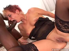 Naughty Blonde MILF Loves to Suck Big Black Dicks!