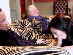 Two brunettes get fucked by an elderly dude and his buddy