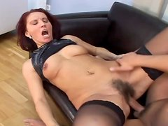 Redhead milf Melony gets her bushy pussy fucked and filled with jizz