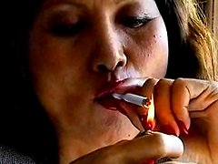Asian smokes and makes it erotic