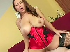 Satin corset for curvy girl fucking hard