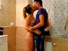 Teen sex in the shower and sauna