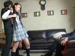 Sexy Long, Raven Haired Japanese Babe In Uniform Forced to Fuck