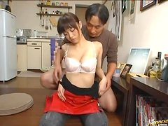 Pretty Japanese girl sucks a dick and rides it crazily in cowgirl position
