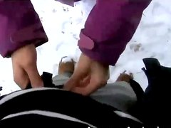 POV clip of hot blowjob and sex among the cold snow