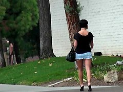 Follow chick in tiny skirt in public