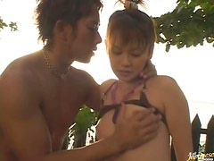 Sexy Asian Couple Making Out And Having A Steamy Sex Outdoor On The Yard