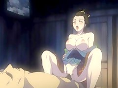 Busty Japanese kimono hentai standing fucked and riding dick