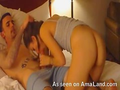 Babe with hot ass blowjob and hard fucking
