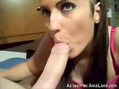 Horny Teen Has Her Pretty Face Facialized After A Great Blowjob