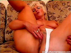 Old lady in cotton panties masturbates solo