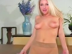 Blonde beauty in pantyhose fetish video