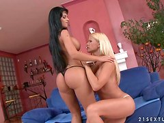 Smoking hot brunette and her sexy blond cutie are having fun