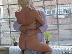 Smoking hot blondie rides a hard cock on the chair