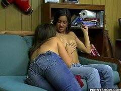 Hot Sex On A Couch For A Sexy Brunette With Big Tits