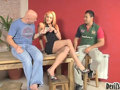 Two guys fuck a tall blonde transsexual and enjoy it