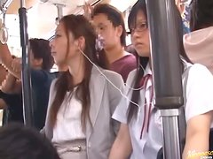 Shameless Naughty Japanese Teens Having Fun with Cocks in Public Bus
