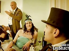 Lady and maid get punished and fucked by two gentleman.
