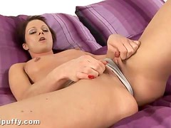 Naughty Mischell fucks dildo with her ass and pussy