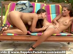Zafira and Cherie redhead superb lesbian couple toying pussy on the couch