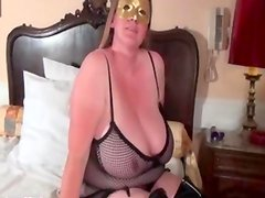 Busty blonde slut goes crazy rubbing her